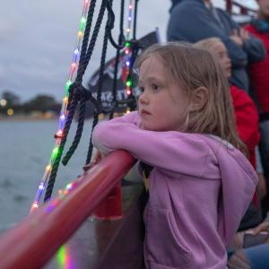 Little girl on The Pirate Ship Christmas Cruise