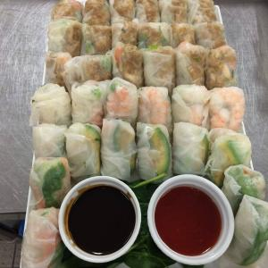 Assorted mini rice paper rolls w, sweet chilli and hoisin
